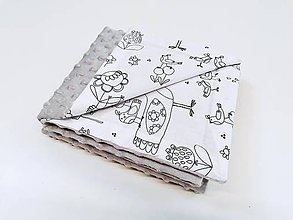 Textil - Minky grey deka s vtáčikmi Birds 70*100cm - 11151223_