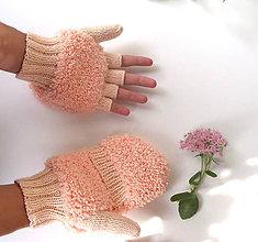 Rukavice - Otváracie marhuľové extra našuchorené rukavice - 11152346_