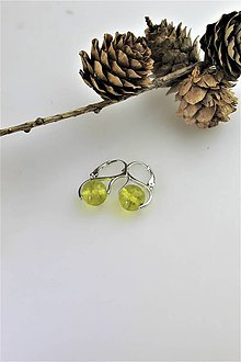 """Náušnice - krištálový """"olivín"""" náušnice v striebre - 11149815_"""