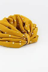 Šály - Veľký dvojitý ľanový nákrčník prekrásnej zlatožltej farby s bodkami - 11150920_