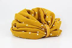 Šály - Veľký dvojitý ľanový nákrčník prekrásnej zlatožltej farby s bodkami - 11150925_
