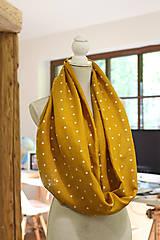 Šály - Veľký dvojitý ľanový nákrčník prekrásnej zlatožltej farby s bodkami - 11150928_