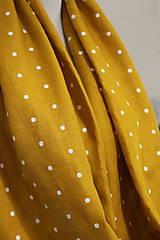 Šály - Veľký dvojitý ľanový nákrčník prekrásnej zlatožltej farby s bodkami - 11150929_