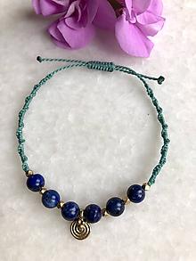 Náramky - Akvamarínový tribal makramé náramok s lapis lazuli - 11152086_
