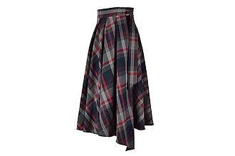 Sukne - ASTRID - áčková zavinovacia sukňa so skladmi a predným cípom (B3 - šedobordové káro) - 11152670_