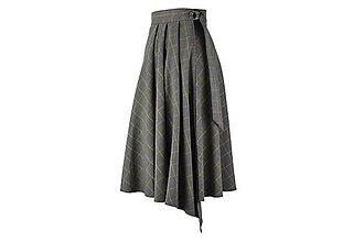 Sukne - ASTRID - áčková zavinovacia sukňa so skladmi a predným cípom (D1 - sivé káro s horčicovým prúžkom) - 11152691_