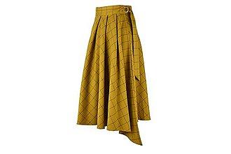 Sukne - ASTRID - áčková zavinovacia sukňa so skladmi a predným cípom (C1 - horčicové káro so šedým prúžkom) - 11152694_