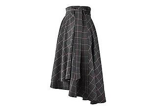Sukne - FIONA - asymetrická zavinovacia sukňa (A2 - tmavošedé káro s ružovým prúžkom) - 11152799_