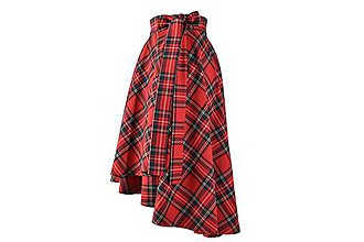 Sukne - FIONA - asymetrická zavinovacia sukňa (červené káro - jemnejšie) - 11152803_