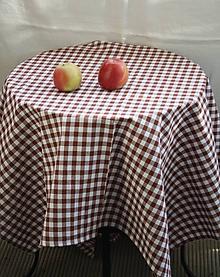 Úžitkový textil - Obrus. Hnedý kockovaný kanafasový - stará klasika. (250 x120) - 11151251_