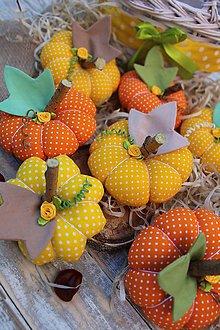Dekorácie - textilné tekvičky (Oranžová) - 11148545_