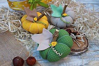 Dekorácie - textilné tekvičky (Zelená) - 11148550_