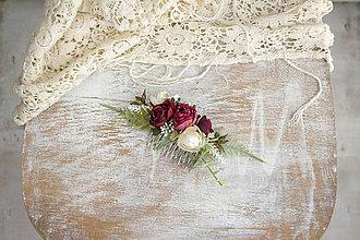 Ozdoby do vlasov - Kvetinov hrebienok ,, bordový,, - 11151351_