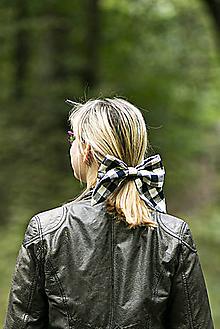 Ozdoby do vlasov - Károvaná maxi ušatá mašľa do vlasov - 11149026_