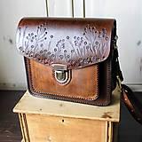 Kabelky - Floral crossbody satchel *vintage brown* - 11150784_