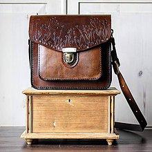 Kabelky - Kožená kabelka Floral satchel *vintage brown* - 11150771_