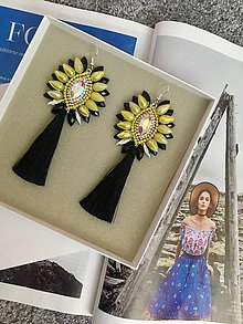 Náušnice - Strapcové náušnice - Yellow Beauty  (10,8 X  5 cm  Váha 11 gramov - Modrá) - 11150668_