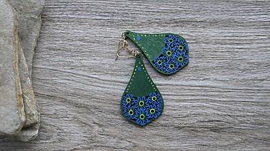 Náušnice - Veľké drevené maľované náušnice (Zeleno modré slzy č. 2883) - 11148924_
