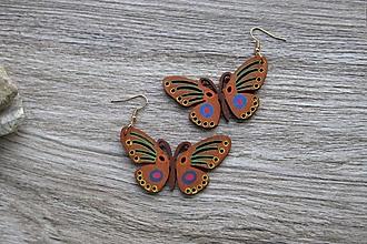 Náušnice - Veľké drevené maľované náušnice (motýle č. 2885) - 11148945_