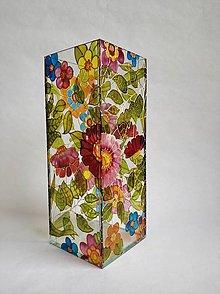 Dekorácie - Sklenená váza s maľovanými kvetmi - 11150781_
