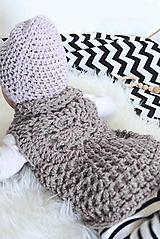 Detské oblečenie - .Mini boho vesta (vlna/alpaka) v šedoružovej - 11148954_