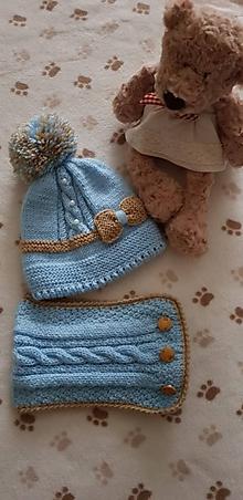 Detské čiapky - Detská zimná čiapka s nákrčníkom - 11151087_