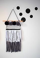 Dekorácie - -Závesná dekorácia/čierna-biela-šedá- - 11150181_