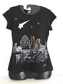 Tričká - Tričko malované Noc ve městě - 11150572_