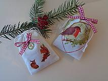 Darčekové Ľanové vrecúška 2 ks - vtáčik, srnka a veverička