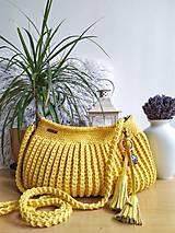 Kabelky - Háčkovaná horčicová kabelka - 11152142_