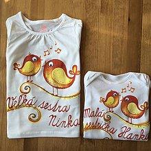 Detské oblečenie - Maľované s motívom vtáčikov-sestričiek (tričko + body) - 11150684_
