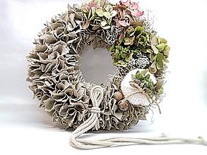 Dekorácie - Jesenný strapatý veniec s hortenziou - 11152225_