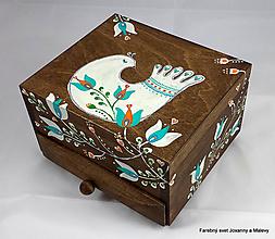 Krabičky - šperkovnica so zrkadlom Vtáčatko - 11148895_