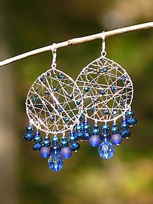 Náušnice - Veľké drôtené náušnice (modrá) - 11148843_