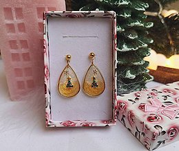 Náušnice - Vianočné náušnice napichovacie so stromčekom - 11151878_