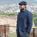Oblečenie - Ľanová košeľa Leslav modrá - 11154829_