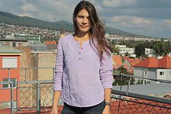 Topy - Ľanová blúzka Ivica lila - 11154907_
