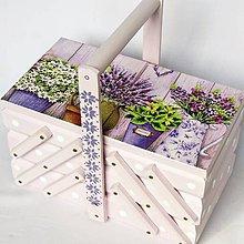 Krabičky - Skrinka na šijacie potreby- Levanduľa - 11155158_