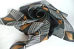 Šatky - Černý hedvábný šátek. - 11156104_