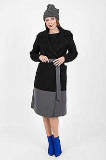 Kabáty - Zľava 40% MIESTNY midi kabát čierno/šedý - 11153623_