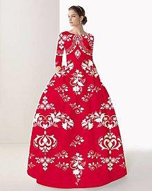"""Šaty - FLORAL FOLK """" Slovenská ornamentika """", spoločenské dlhé šaty (Červená karmínová + biely vzor) - 11152963_"""