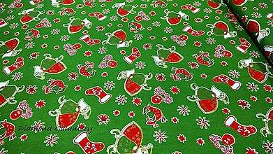 Textil - Bavlnená látka - Mikuláš na zelenom- cena za 10 cm - 11153144_