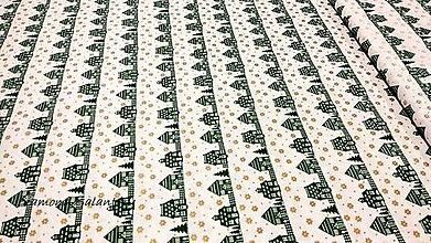 Textil - Bavlnená látka - Vianočná dedinka zelená- cena za 10 cm - 11153151_