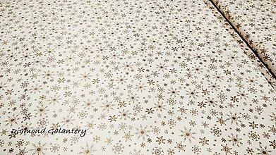 Textil - Bavlnená látka - Vločky zlaté- cena za 10 cm - 11154717_