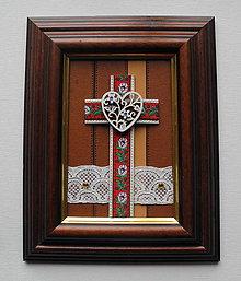 Obrazy - Kríž Folk červený - 11155563_