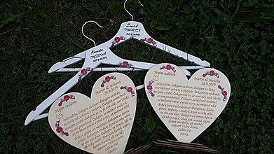 Dekorácie - Svadobné vešiaky + ďakovné srdcia - 11156438_