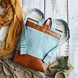 Batohy - Textilno-kožený batoh Hugo (Hnedo-modrý) - 11153618_