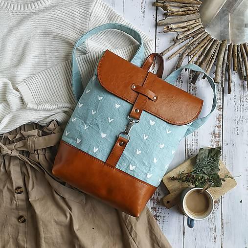 Textilno-kožený batoh Hugo (Hnedo-modrý)