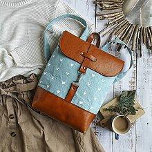 Batohy - Textilno-kožený batoh Hugo (Hnedo-modrý) - 11153609_