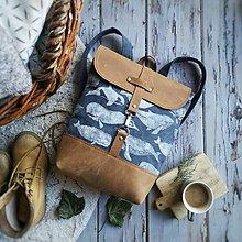 Batohy - Textilno-kožený batoh Hugo (Veľryby) - 11153646_